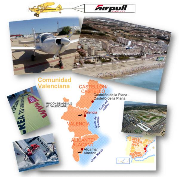 Collage de fotos relacionadas con la publicidad aerea